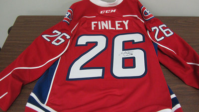 AHL RED GAME ISSUED JOE FINLEY JERSEY SIGNED