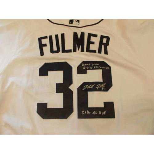 Photo of Game-Used Michael Fulmer Home Jersey 6th Career Win