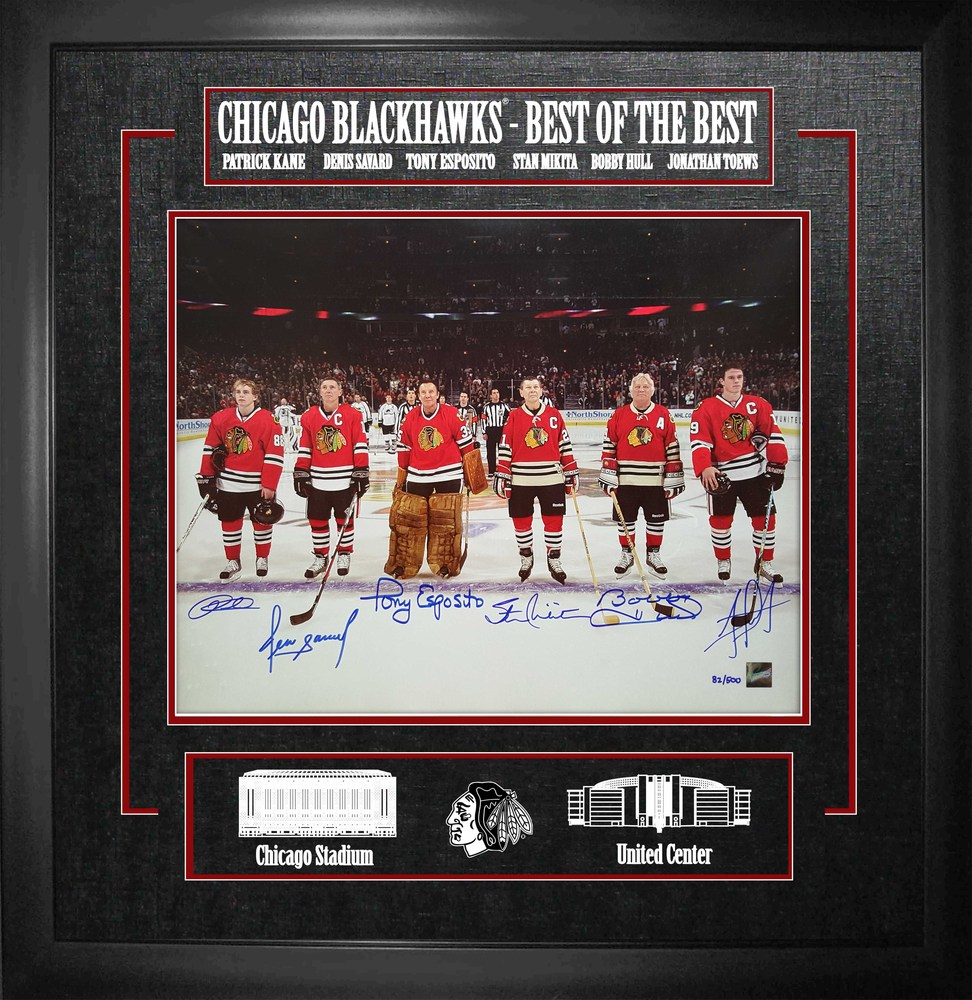 Toews, Kane, Hull, Esposito, Savard, & Mikita - Multi Signed & Framed 16x20 Etched Mat - Chicago Blackhawks Best