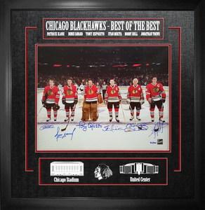 Toews, Kane, Hull, Esposito, Savard, & Mikita - Multi Signed & Framed 16x20 Etched Mat - Chicago Blackhawks Best