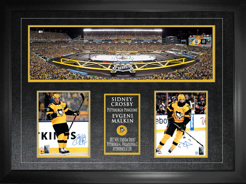 Crosby & Malkin - Signed and Framed 8x10 dual photo and panorama