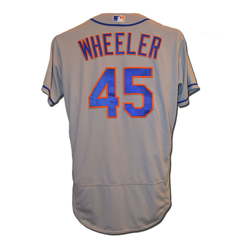 Photo of Zack Wheeler #45 -  Game Used Road Grey Jersey - Wheeler Earns 1st Win Since 2014; 5.2 IP, 4 Strikeouts - Mets vs. Phillies - 4/12/17