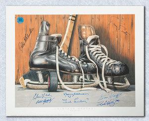 Vintage Skate Daniel Parry Autographed by 8 HOF Legends 11x14 Art Print *Delvecchio, Kelly, Lindsay etc*