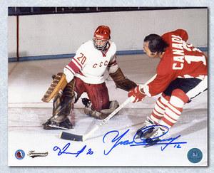 Yvan Cournoyer vs Vladislav Tretiak Dual Signed 1972 Summit Series 8x10 Photo