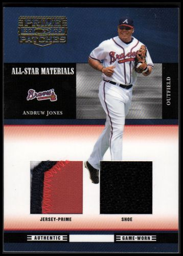 Photo of 2005 Prime Patches All-Star Materials Double Swatch Prime #16 Andruw Jones Jsy-Shoe/50
