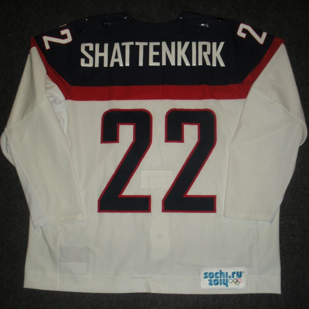 Kevin Shattenkirk - Sochi 2014 - Winter Olympic Games - Team USA White Game-Worn Jersey - Worn in Warmups and 1st Period vs. Slovakia, 2/13/14