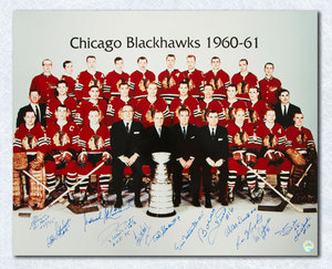 1961 Chicago Blackhawks Team Signed Stanley Cup 16x20 Photo *11 Autographs* *Bobby Hull, Pierre Pilote, Glenn Hall, etc*
