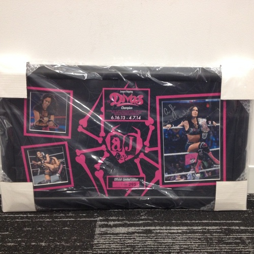 AJ Lee Longest Reigning Divas Champion Signed Commemorative Plaque (#1 of 295)