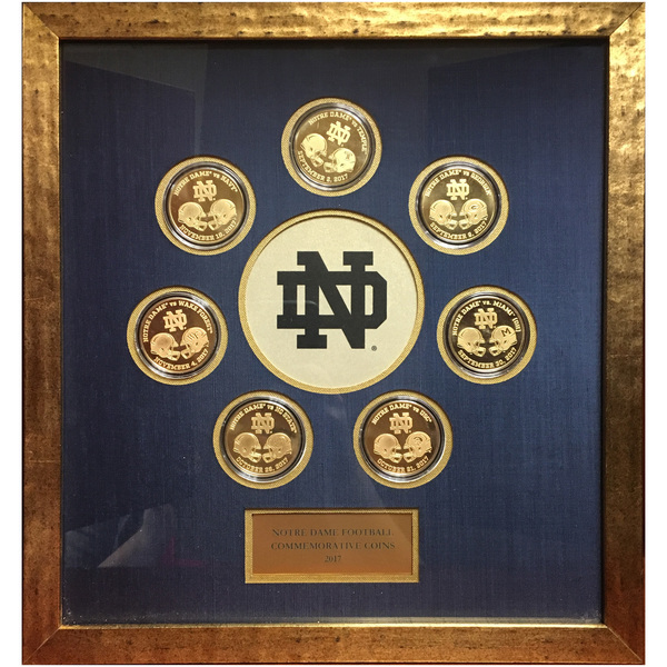 2017 Notre Dame Football Commemorative Framed 7-Coin Set (C)