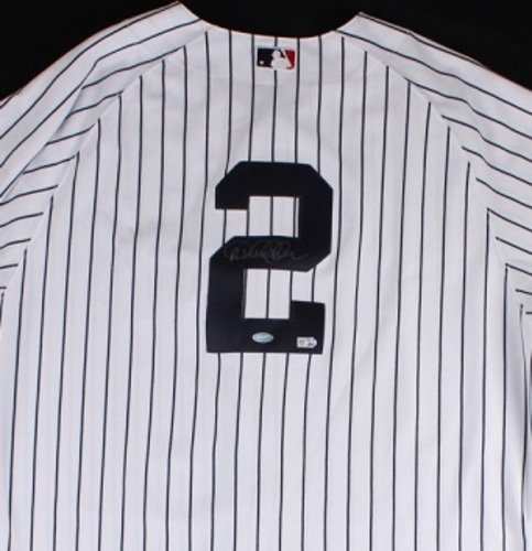 Photo of Derek Jeter Autographed Yankees Jersey