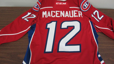 AHL RED GAME ISSUED MAXIME MACENAUER JERSEY