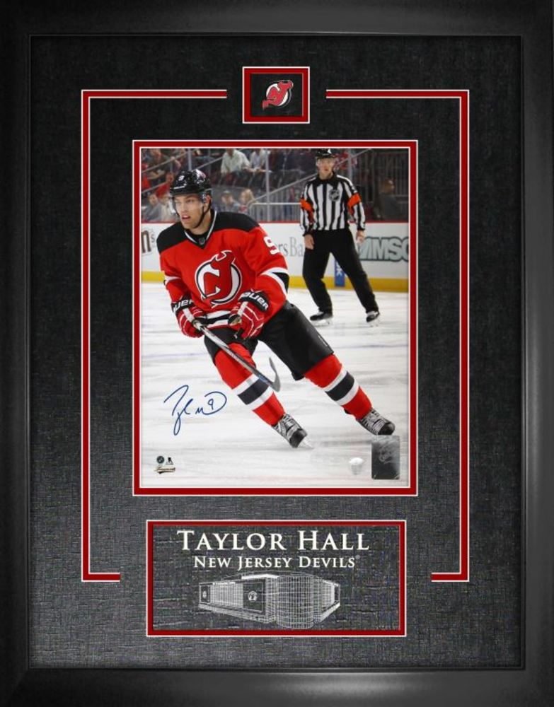 Taylor Hall - Signed and Framed 8x10 Etched Mat Devils Red Action