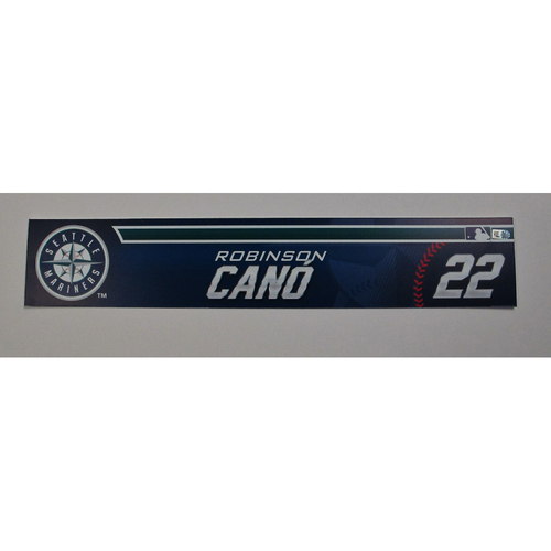 Photo of Robinson Cano Team-Issued Locker Room Name Plate 2016