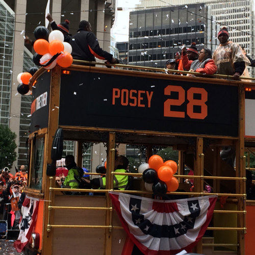 Photo of San Francisco Giants - 2014 World Series Parade Bus Sign - Buster Posey
