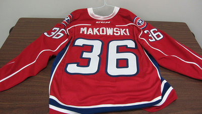 AHL RED GAME ISSUED DAVID MAKOWSKI JERSEY