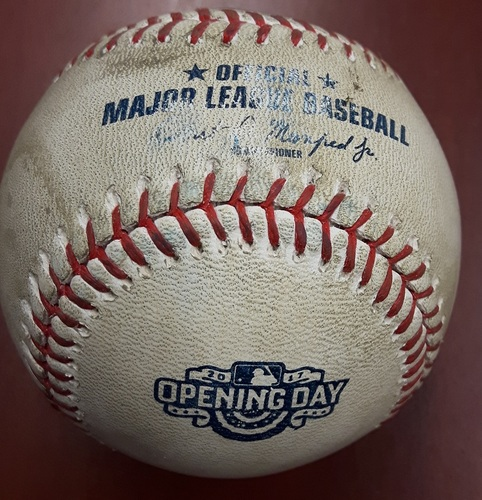 Photo of Authenticated Game Used Keon Broxton Home Run baseball (1) Top 1. Pitcher JA Happ - Four-Seam Fastball  - 1st Home Run at the Rogers Centre for 2017 (41st Blue Jays Home Opener)