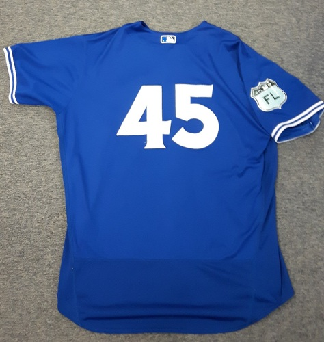 Photo of Authenticated Game Used Spring Training Jersey (March 24, 2017 vs Boston Red Sox) - #45 Francisco Liriano