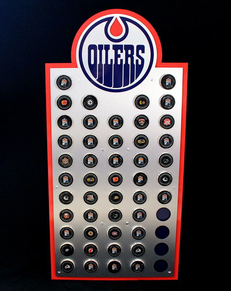 2016-17 Edmonton Oilers Locker Room Custom Puck Display With Game Pucks Representing All 47 Oilers Regular Season Home And Road Wins!