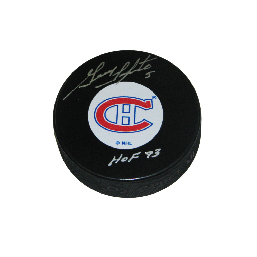 GUY LAPOINTE Signed Montreal Canadiens Original 6 Logo Puck with HOF inscription