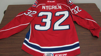 AHL RED GAME ISSUED MAGNUS NYGREN JERSEY