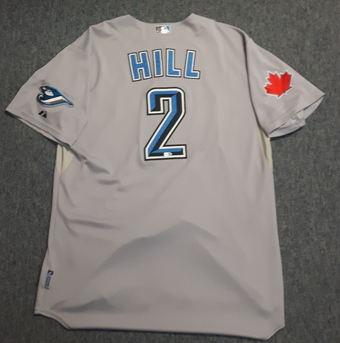 Photo of Authenticated Game Used Jersey - #2 Aaron Hill (April 16, 2011). Hill went 2-for-3 with 1 Double, 1 Run, 1 Walk and 1 Stolen Base. Size 48