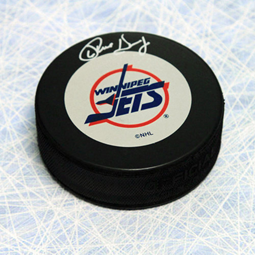 Phil Housley Winnipeg Jets Autographed Vintage Logo Hockey Puck