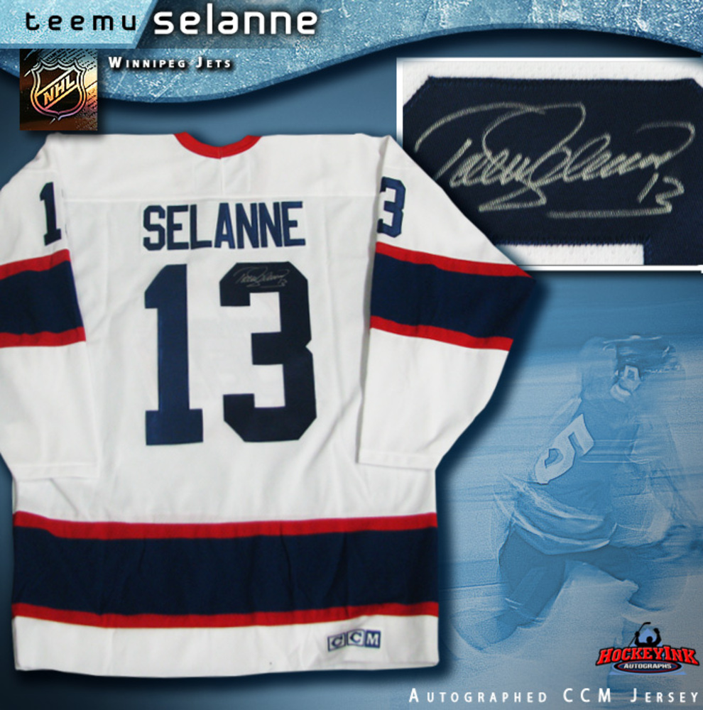 TEEMU SELANNE Signed Winnipeg Jets White CCM Jersey