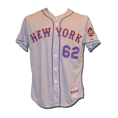 Photo of Erik Goeddel #62 - Game Used Road Grey Jersey - Mets vs. Phillies - 10/1/15