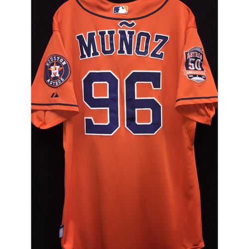Photo of Game-Used 2015 Carlos Munoz Orange Alternate jersey