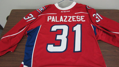 AHL RED GAME ISSUED FRANK PALAZZESE JERSEY