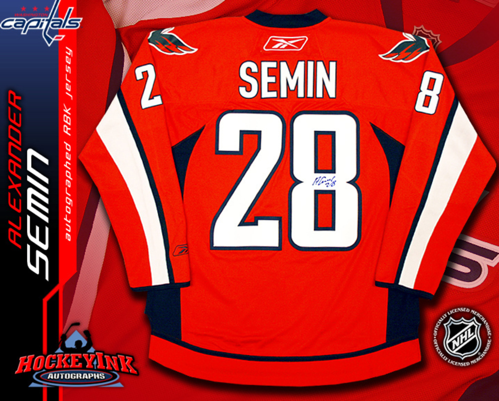 ALEXANDER SEMIN Signed RBK Premier Washington Capitals Red Jersey