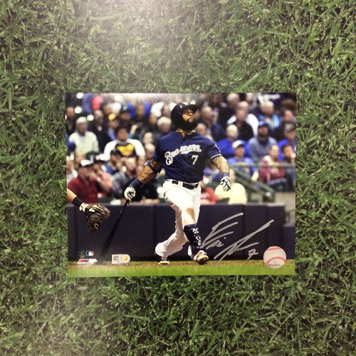 """Photo of Eric Thames Autographed 8"""" x 10"""" Photo - Navy Jersey"""