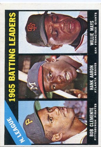 Photo of 1966 Topps #215 NL Batting Leaders/Bob Clemente/Hank Aaron/Willie Mays