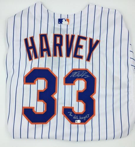 "Photo of Matt Harvey Autographed ""The Dark Knight"" Authentic White Mets Jersey"
