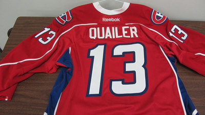 AHL RED GAME ISSUED STEVE QUAILER JERSEY