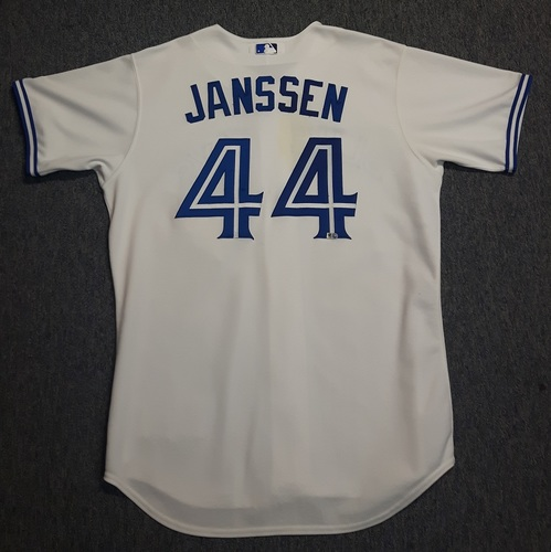 Photo of Authenticated Game Used Jersey - #44 Casey Janssen (April 2, 2013 - Home Opener). Size 48.