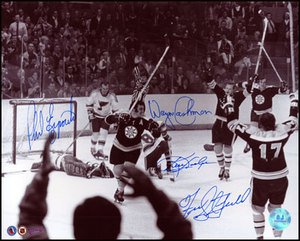 Phil Esposito, Cashman, Hodge & Stanfield Boston Bruins Signed Ot Goal 16x20 Photo