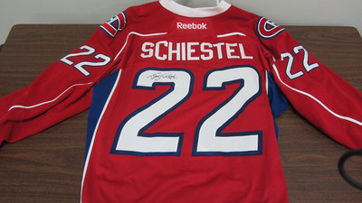 AHL RED GAME ISSUED DREW SCHIESTEL JERSEY SIGNED