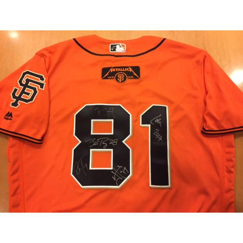 Giants Metallica Auction: Posey & Metallica Signed Giants Orange Friday Jersey