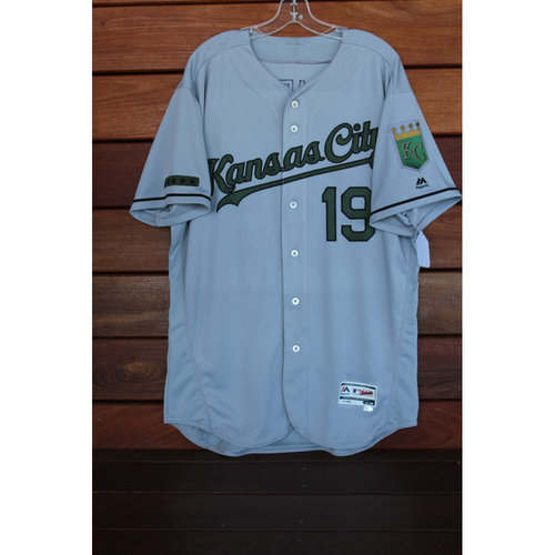 Photo of Game-Used Cheslor Cuthbert Memorial Day Road Jersey (Size 48 - KC at CLE - 5/28/17)