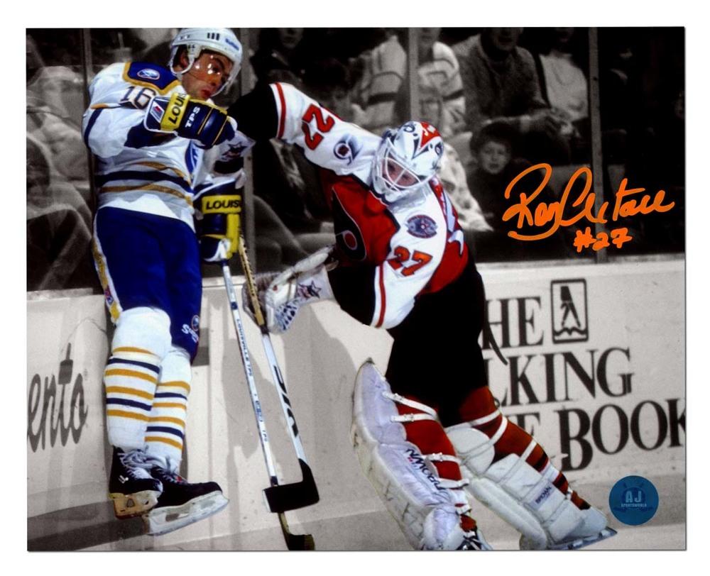 Ron Hextall Philadelphia Flyers Autographed Body Check Lafontaine 8x10 Photo