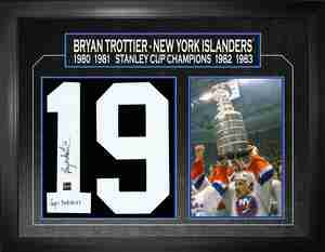 Bryan Trottier - Signed & Framed Number Collage - New York Islanders - Inscribed Cup Years