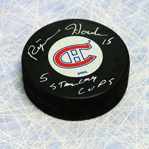 Rejean Houle Montreal Canadiens Autographed Hockey Puck W/ 5 Stanley Cup Note