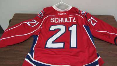 AHL RED GAME ISSUED IAN SCHULTZ JERSEY