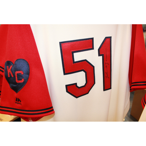 Photo of Jason Vargas Autographed Game-Used Kansas City Monarchs Jersey (5/7/2017) (Size 50)