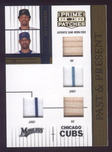Photo of 2005 Prime Patches Past and Present Double Swatch Combo #13 Derrek Lee B-B-J-J/150