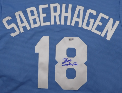 Photo of Bret Saberhagen Autographed Royals Replica Jersey