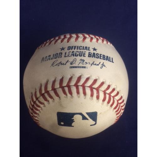 Photo of Albert Pujols Game-Used Baseball - RBI Single, Ties Frank Robinson for 20th on MLB Career RBI List