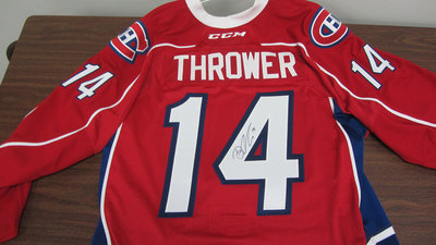 AHL RED GAME ISSUED DALTON THROWER JERSEY SIGNED