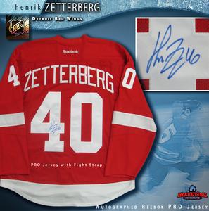 HENRIK ZETTERBERG Signed Detroit Red Wings Red Reebok PRO Jersey
